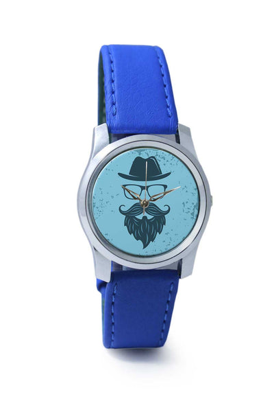 Women Wrist Watch India | Vintage Blue Hipster with Spectacles and Hat Wrist Watch Online India
