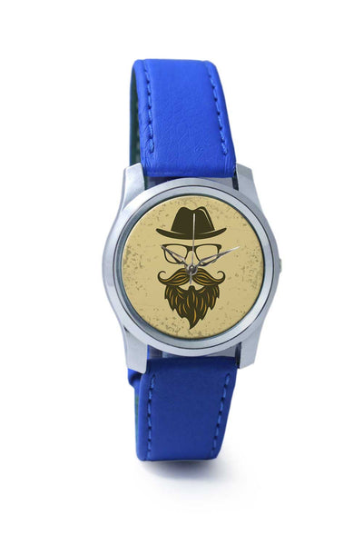 Women Wrist Watch India | Vintage Brown Hipster with Spectacles and Hat Wrist Watch Online India