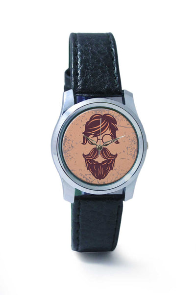 Women Wrist Watch India | Vintage Maroon Hipster with Round Spectacles Wrist Watch Online India