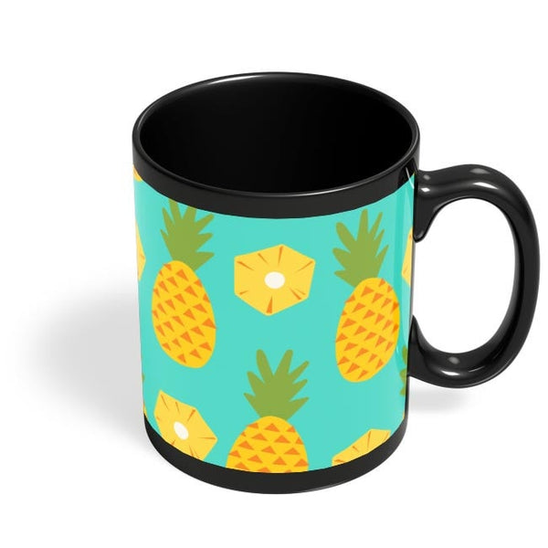 """Pineapple"" Sky Blue background Black Coffee Mug Online India"