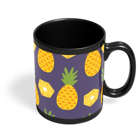 """Pineapple""  Blue background Black Coffee Mug Online India"