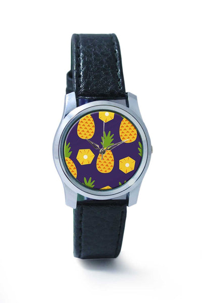 "Women Wrist Watch India | ""Pineapple"" Blue background Wrist Watch Online India"