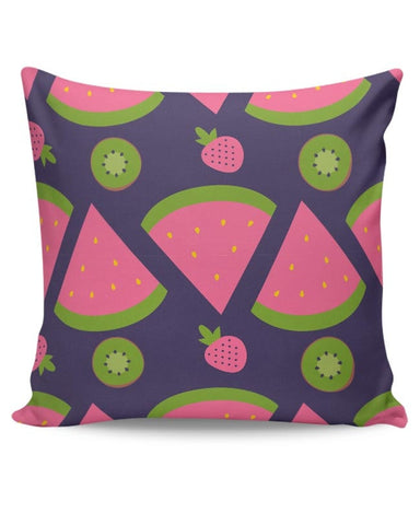 """Watermelon Strawberry ""  blue backgrond Cushion Cover Online India"
