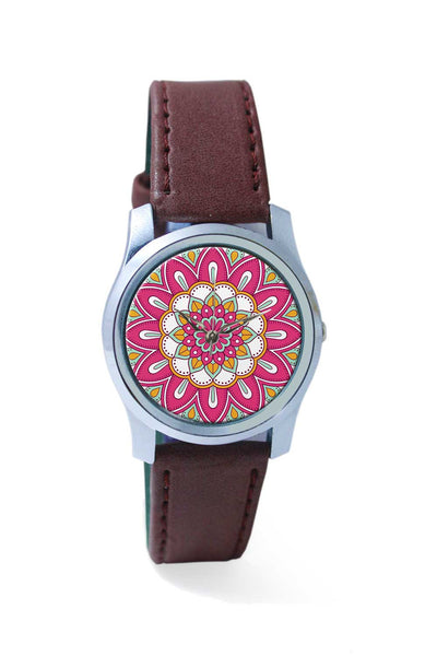 Women Wrist Watch India | Rangoli with pink background Wrist Watch Online India