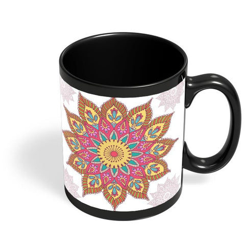 Colourful Mandela with white background Black Coffee Mug Online India