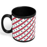 Grey star with red background Black Coffee Mug Online India | Designed by: Codeburnerz Technologies