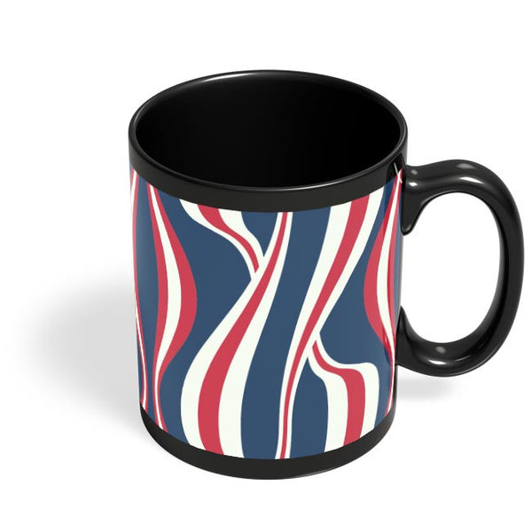 Waving Ribbon with blue bacground Black Coffee Mug Online India