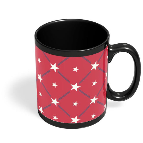 White Star with red background Black Coffee Mug Online India
