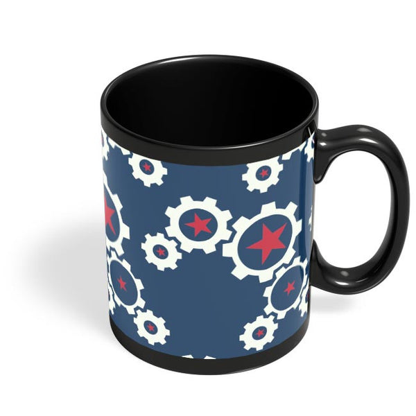 Star Wheel with blue background Black Coffee Mug Online India