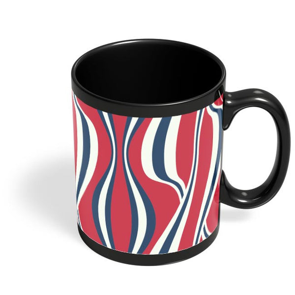 Waving Ribbon with red bacground Black Coffee Mug Online India