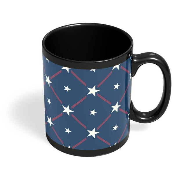White Star with blue background Black Coffee Mug Online India