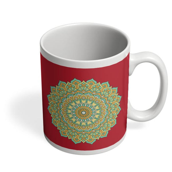 Boho design with red background Coffee Mug Online India