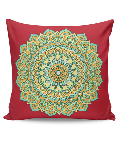 Boho design with red background Cushion Cover Online India