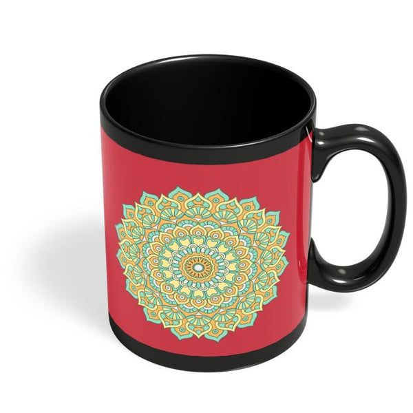 Boho design with red background Black Coffee Mug Online India