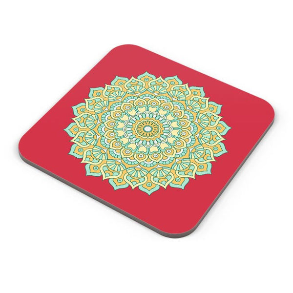 Boho design with red background Coaster Online India