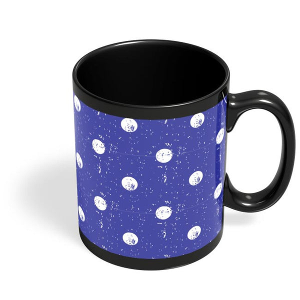 White Polka Dots  with blue background Black Coffee Mug Online India
