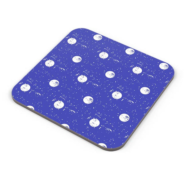 White Polka Dots  with blue background Coaster Online India