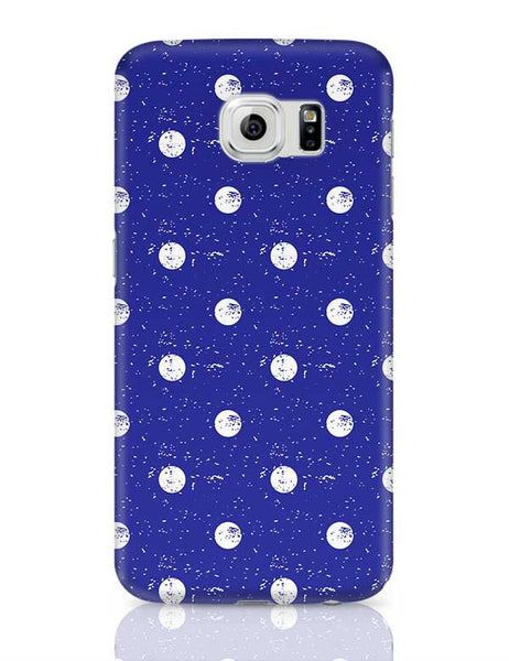 White Polka Dots  with blue background Samsung Galaxy S6 Covers Cases Online India