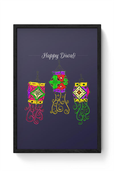Hand Drawn Decorative Colored Lanterns Framed Poster Online India