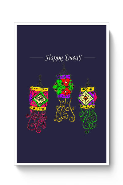 Hand Drawn Decorative Colored Lanterns Poster Online India