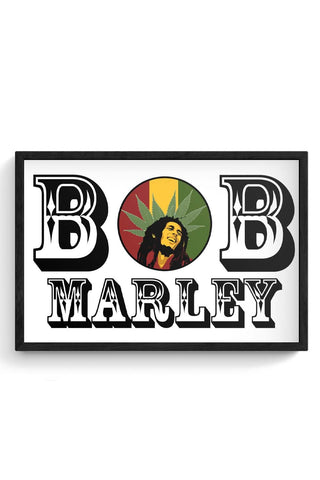 Bob, Bob Marley, Cannabis Leaf, Ganja, Music, Rock Framed Poster Online India