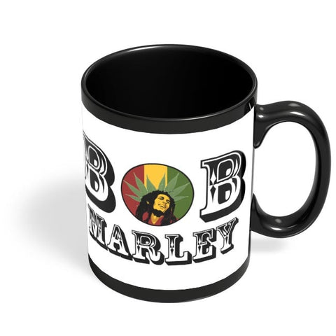 Bob, Bob Marley, Cannabis Leaf, Ganja, Music, Rock Black Coffee Mug Online India