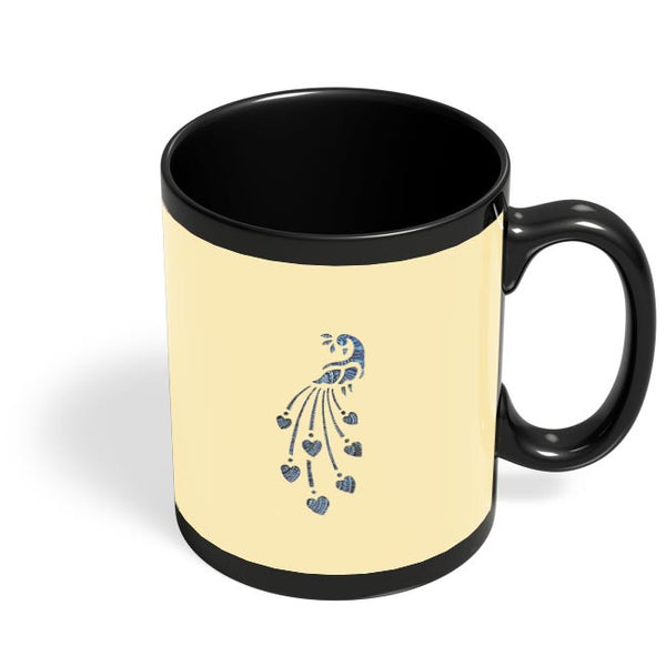 Peacock_Zentangle_Sandal Black Coffee Mug Online India