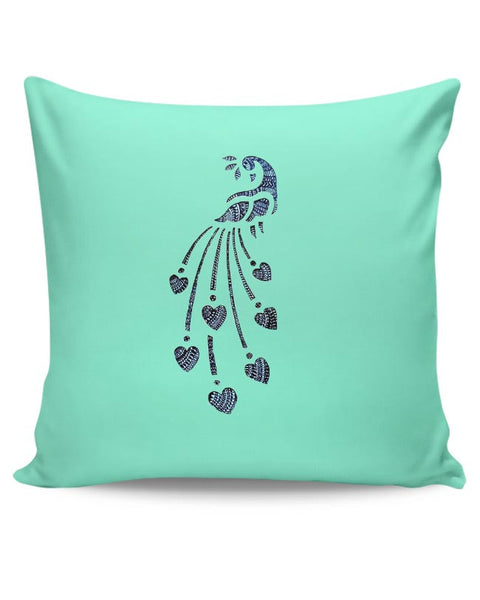 Peacock_Zentangle_Turquoise Cushion Cover Online India