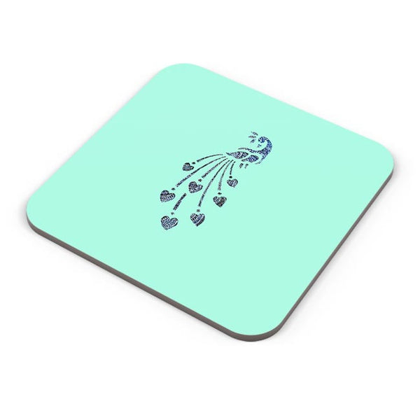 Peacock_Zentangle_Turquoise Coaster Online India