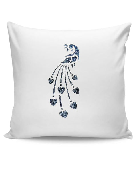 Peacock_Zentangle white Cushion Cover Online India