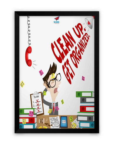 Framed Poster | NASSCOM 10000 Startups 'Clean up get organised' Matte Laminated Framed Poster PosterGuy.in