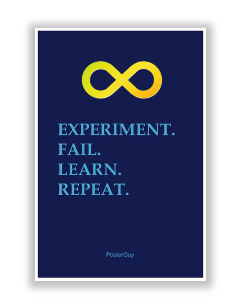 Buy Motivational Posters Online | Experiment. Fail. Learn. Repeat Motivational Poster(Dark Blue) | PosterGuy.in