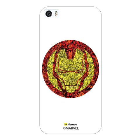 White  Iron Man Face Doodle Apple iPhone 5S/5 Case Cover