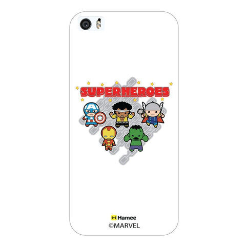 Cute Superheroes Chain White iPhone 5S/5 Case Cover