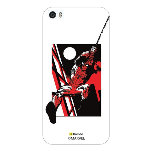 White  Spiderman Sketch Swinging Apple iPhone 5S/5 Case Cover