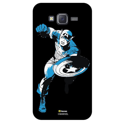 Captain America Black And Blue Colur On Blackblack  Samsung Galaxy J7 Case Cover