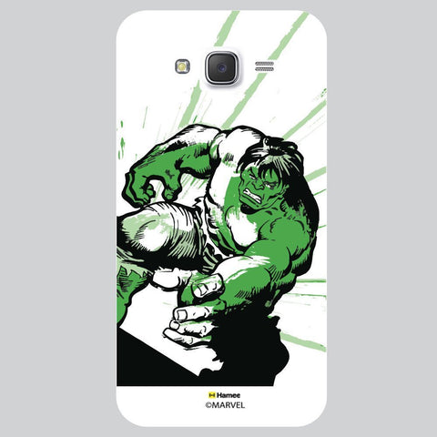 Hulk Cover With Green Strokes White Samsung Galaxy On7 Case Cover