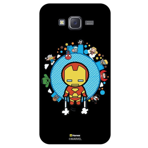 Cute Iron Man With Other Superheroes Black  Samsung Galaxy J7 Case Cover