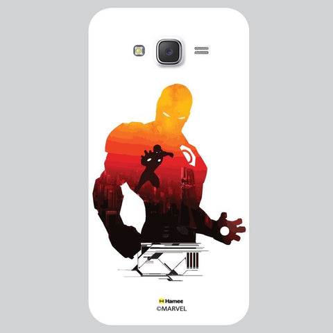 Iron Man Sunset Silhouette Illustration On Black White Samsung Galaxy J7 Case Cover