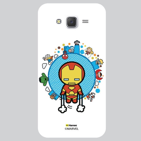 Cute Iron Man With Other Superheroes White Samsung Galaxy On7 Case Cover