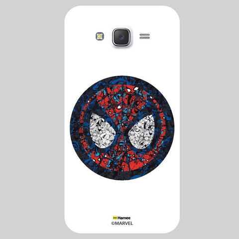 Spider Man Mask Collage Illustration White Samsung Galaxy J7 Case Cover