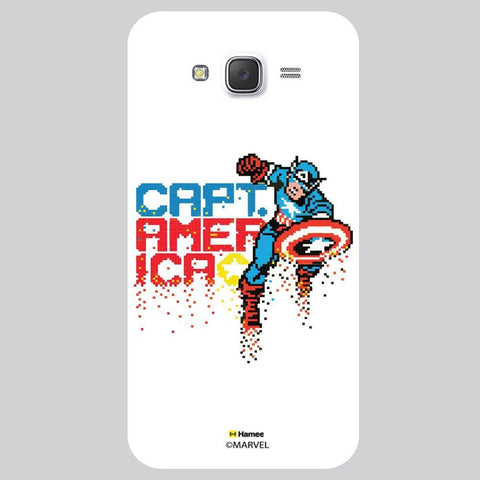 Captain America Pixelated Illustration White Samsung Galaxy J7 Case Cover