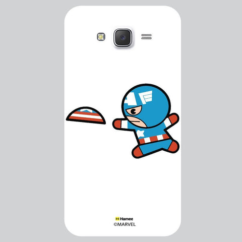 Cute Captain America Playing With Flying Disc White Samsung Galaxy On7 Case Cover