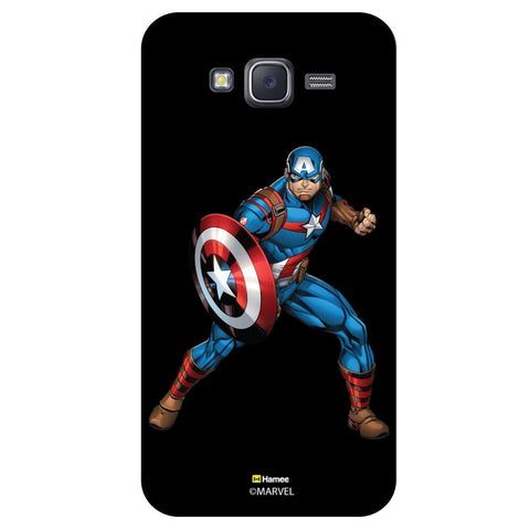 Captain America Action Pose Black  Samsung Galaxy J7 Case Cover