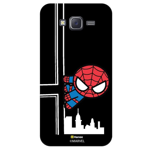 Cute Spider Man Watching You Black  Samsung Galaxy J5 Case Cover