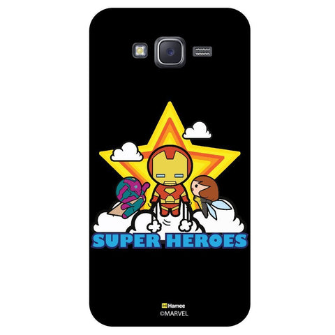 Cute Super Heroes With Big Glowing Star Black  Samsung Galaxy J7 Case Cover