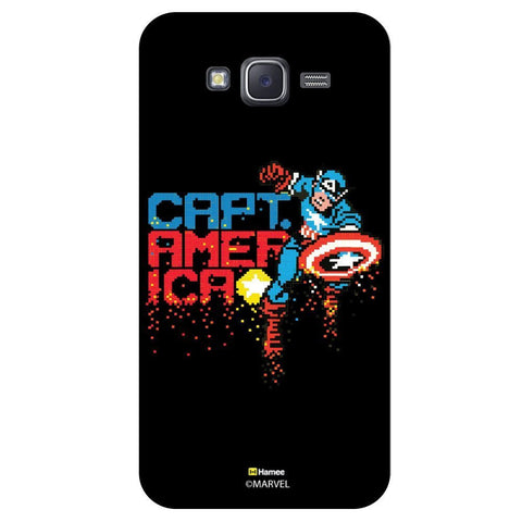 Captain America Pixelated Illustration Blackblack  Samsung Galaxy J7 Case Cover