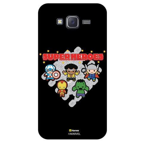 Cute Four Super Heroes Black  Samsung Galaxy J7 Case Cover