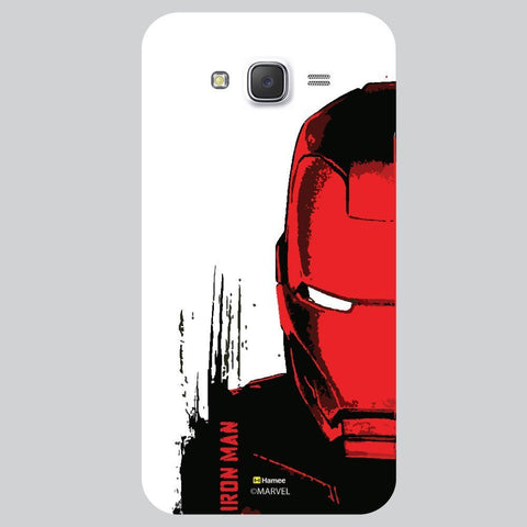 Red And Black Colour Iron Man Face Illustration White Samsung Galaxy On7 Case Cover