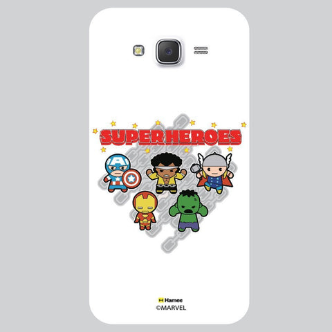 Cute Four Super Heroes White Samsung Galaxy J7 Case Cover